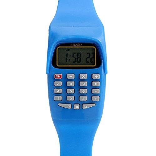 Smart-Uni Multifunction Calculator WristwatchLED Silicone Sports watch for Kids Children(Dark Blue)