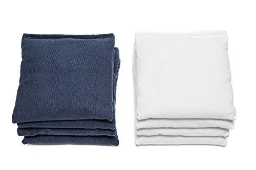 Weather Resistant Cornhole Bags (Set of 8) by SC Cornhole (Navy Blue/White) -