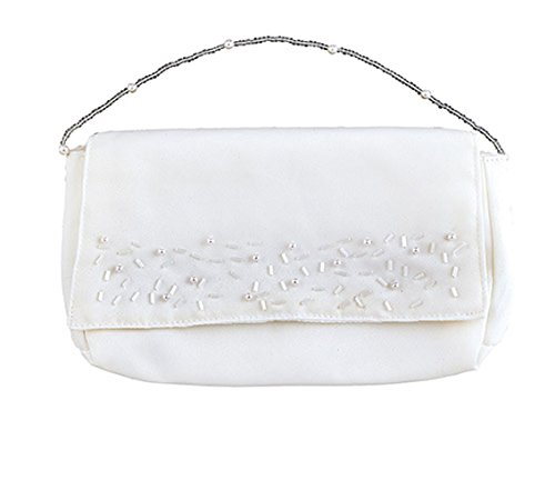 Purse Embellishment (First Communion Girl's Clutch Purse Polyester Satin with Bead and Pearl Embellishments)