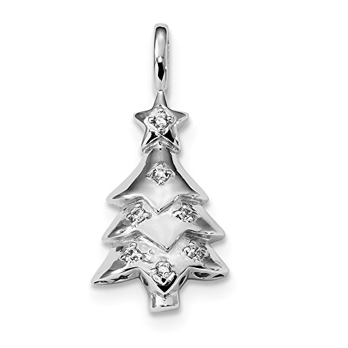 925 Sterling Silver Cubic Zirconia Cz Christmas Tree Pendant Charm Necklace Holiday Fine Jewelry Gifts For Women For Her
