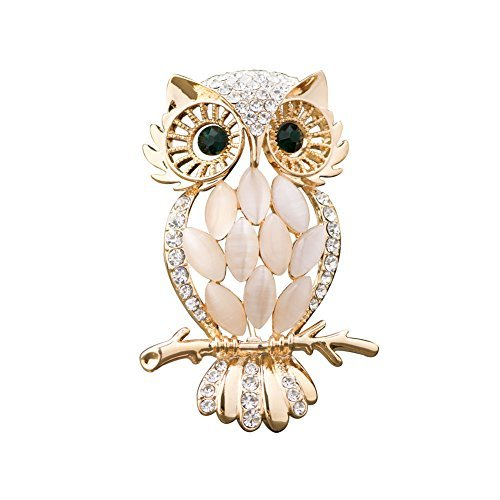 LuckyJewelry Vintage Cheap Crystal Rhinestone Perched Cute Green Eyed Owl Brooch and Pin for Sale (Gold Plated)