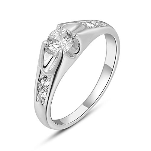18k White Gold Plated Mounting 0.5 Ct Cubic Zirconia Diamond (18k Mounting)