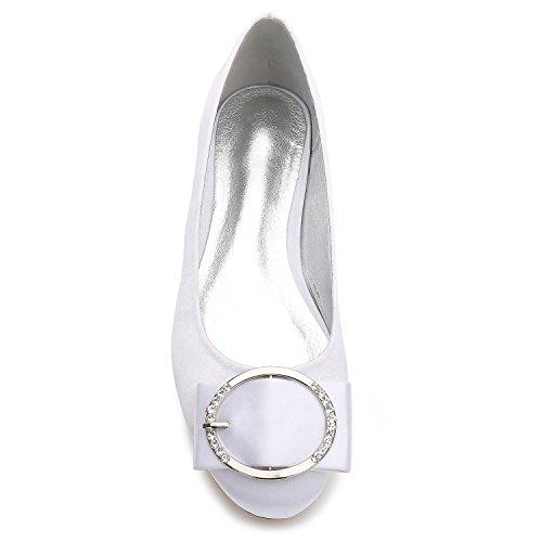 White Por Mujeres Metal L Encargo Bola Punta Stretch Tamaño Estrecha yc Satén De Q 5049 Gran Zapatos 31 Las Boda qHXZg