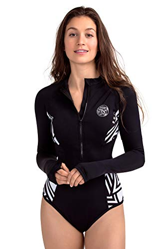 AXESEA Womens Long Sleeve Rash Guard UV UPF 50+ Sun Protection Printed Zipper Surfing One Piece Swimsuit Bathing Suit (4, Mystery Black) ()