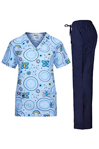 (MedPro Women's Medical Scrub Set with Printed V-Neck Wrap Top and Cargo Pants Light Blue Navy S)