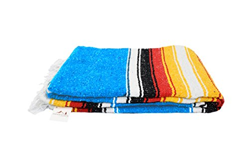 Blue Diamond Navajo Mexican Yoga Blanket, Thick Serape with Red and Yellow Sunset Stripes - Handmade