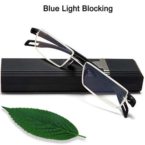 Half Frame Pocket Computer Readers Glasses -1.5 Anti Glare Computer Readers Light Weight Prescription TR90 Black Quality Eyeglass