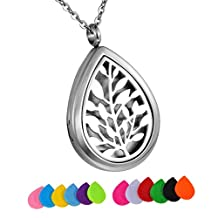 HooAMI Tree of Life Stainless Steel Aromatherapy Essential Oil Diffuser Necklace Locket Pendant