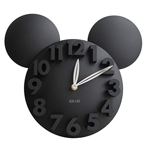 Disney Wall Clocks - Meidi Clock Modern Design Mickey Mouse Big Digit 3D Wall Clock Home Decor Decoration - Black