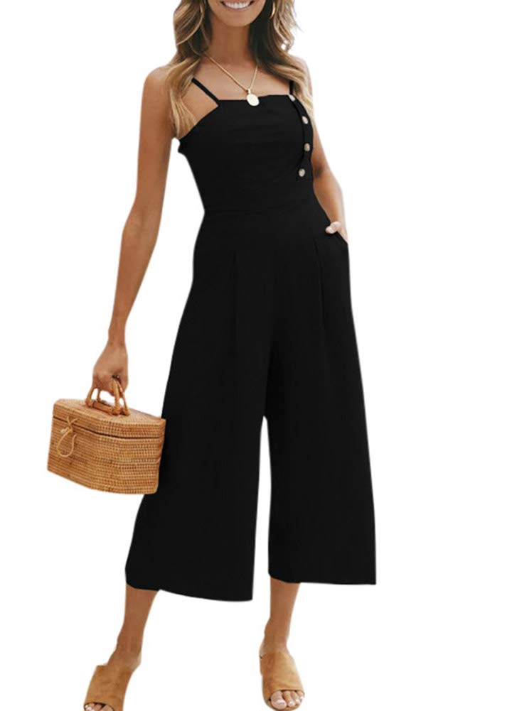 Romacci Women Spaghetti Strap Jumpsuits Button Strapless Rompers Playsuit Wide Leg Pants Casual Summer Bodysuit
