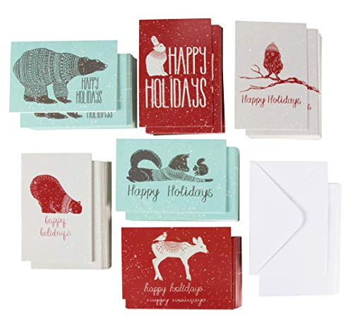 144-Pack Merry Christmas Holiday Greeting Card - Happy Holidays Xmas Cards in 6 Winter Animal Designs, Bulk Assorted Winter Holiday Cards with Envelopes, 4 x 6 - Christmas Card Assortment