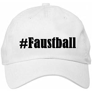 Base Cap Hashtag #FaustballGrößeuniFarbeWeissDruckSchwarz
