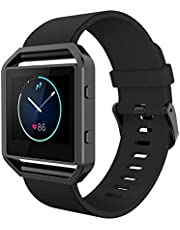 Simpeak Band Compatible with Fit bit Blaze, Silicone Wrist Strap with Meatl Frame for Fit bit Blaze,Large/Small