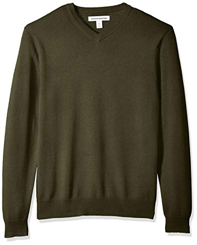 Amazon Essentials Men's V-Neck Sweater, Olive Heather, - Waistband V-neck