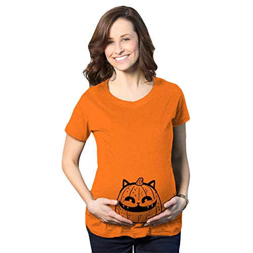 When To Carve Pumpkin For Halloween (Maternity Pumpkin Cat Pregnancy Tshirt Funny Halloween Kitty Tee for Mom to Be (Orange) -)