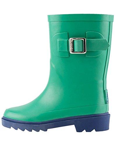 (OAKI Kids Rubber Rain Boots, Green & Navy, 4Y US Big Kid)