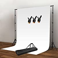 Happyjoy Photography Video Studio Stand with 1.6x3m White Background Backdrop 3 Clamp Kit Set