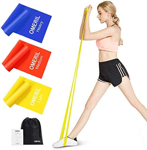 OMERIL Resistance Bands Set, 3 Pack Latex Exercise Bands with 3 Resistance Levels, Skin-Friendly Elastic Bands with Carrying Pouch for Home Workout, Strength Training, Physical Therapy, Yoga, Pilate