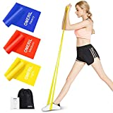OMERIL Resistance Bands Set, 3 Pack Latex Exercise Bands with 3 Resistance Levels, Skin-Friendly Elastic Bands with Carrying Pouch for Home Workout, Strength Training, Physical Therapy, Yoga, Pilates