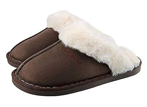 lovejin Damen Lammfell Hausschuhe Winter Warme Pantoffeln Bequem Fellschuhe Haus Schlappen Flache Plüsch Pantoffel rutschfeste Winterschuhe für Herren