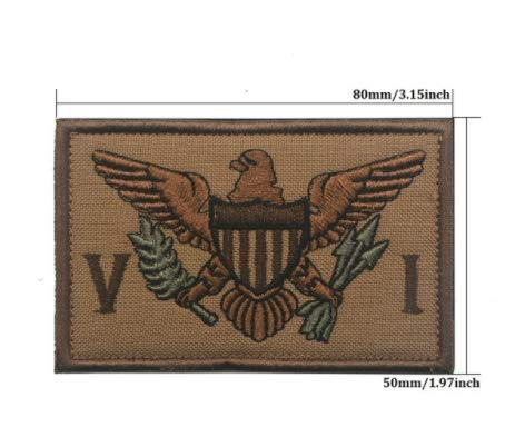 The United States Virgin Island Flag Military Patch Fabric Embroidered Badges Patch Tactical Stickers for Clothes with Hook & Loop ()