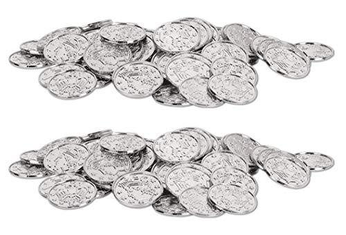Beistle S50856-SAZ2 Silver Plastic Coins 200 Piece, 1.5