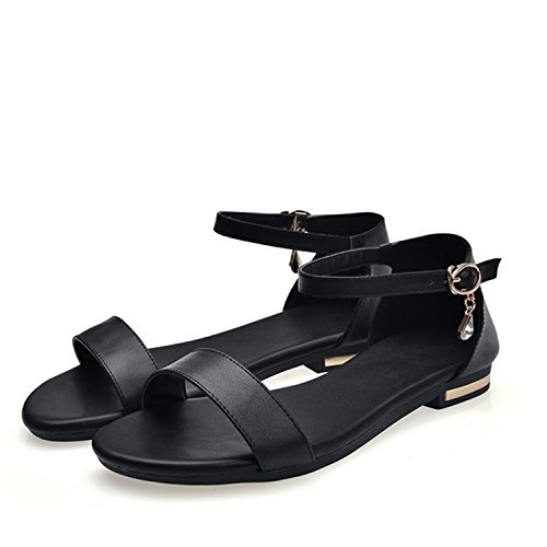 Summer Crystal Black Fashion with Female Casual Sandals 2018 Flats Hot Nerefy Buckle Flat Dress Women 1x5w6