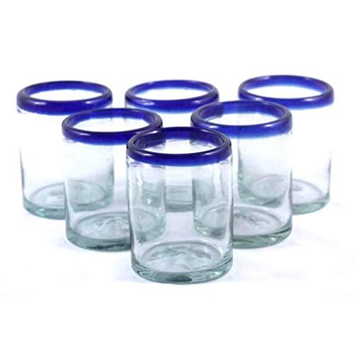 Mexican Blown Glass Tumblers Cobalt Blue Rim (Set of 6)