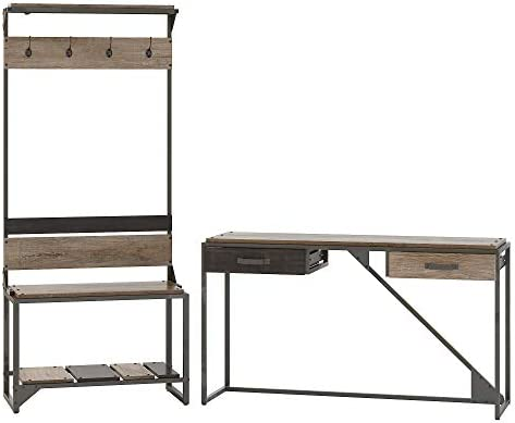 Bush Furniture Refinery Entryway Storage Set with Shoe Bench, Hall Tree and Console Table, Rustic Gray