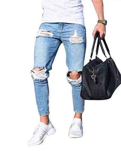 Jeans Con Especial Ssiger Slim Stile Vestibilità Regular Hellblau Estilo Fit Da Uomo Pantaloni Denim HqXwCxEv1