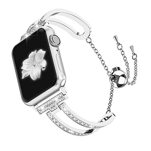Wearlizer Womens Silver Compatible with Apple Watch Band 42mm 44mm iWatch Bling Jewelry U-Type Dressy Wristband Steel with Rhinestone Bangle Replacement Strap Metal Bracelet Chain Series 4 3 2 1