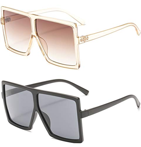 39bb89d9159 MAOLEN Oversized Square Polarized Sunglasses for Women Flat Top Shades  Sunglasses