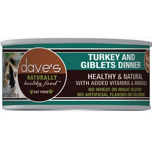 Dave'S Naturally Healthy Grainfree Canned Cat Food Turkey & Giblets Dinner Formula (24 Cans Per Case), 3 Oz