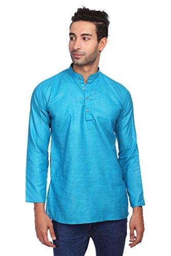 - WINTAGE Men's Cotton Silk Blend Tailored Fit Casual/Festive Indian Kurta Dress Shirt : Blue, Medium