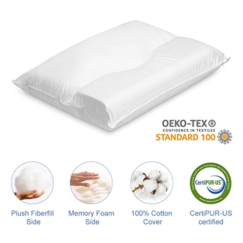 amazoncom langria memory foam and fiber bed pillow with soft medium firmness zippered washable 100 cotton cover certipurus and oekotex standard 100