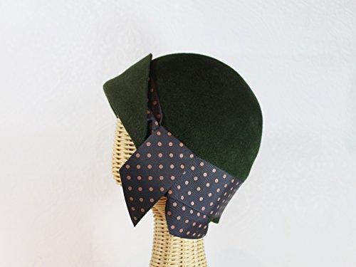 Amelie 20's Style Flapper Cloche Hat in Dark Green Velour Felt by Bonnet