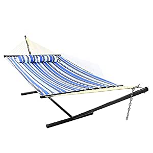 Sunnydaze 2 Person Freestanding Quilted Fabric Spreader Bar Hammock with 12-Foot Stand-Includes Detachable Pillow, 350 Pound Capacity, Catalina Beach