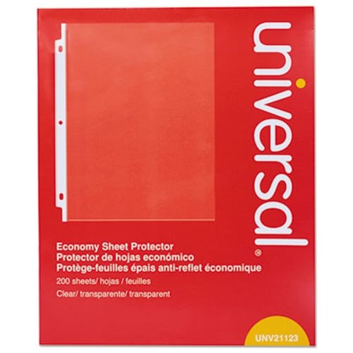 Universal 21123 Standard Sheet Protector, Economy, 8 1/2 x 11, Clear, 200/Box
