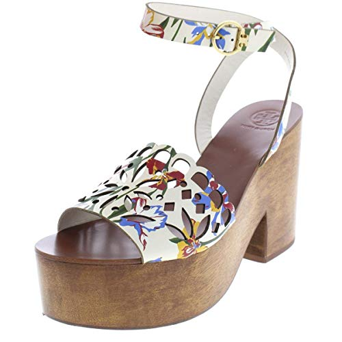 Burch Leather - Tory Burch Womens May Leather Floral Print Platform, Painted Iris, Size 8.5
