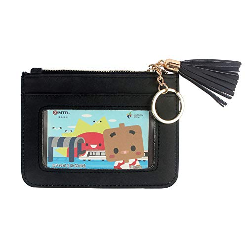 - Duketea Keychain Wallet Id Card Holder Case Coin Purse With Key Ring For Women, Black, Large