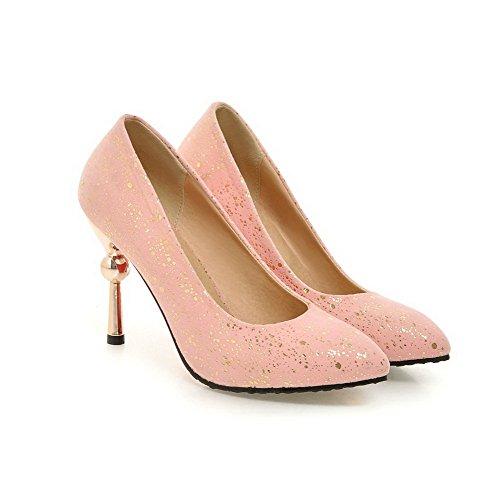 AllhqFashion Damen Stiletto Rein Ziehen auf Mattglasbirne Spitz Zehe Pumps Schuhe Pink
