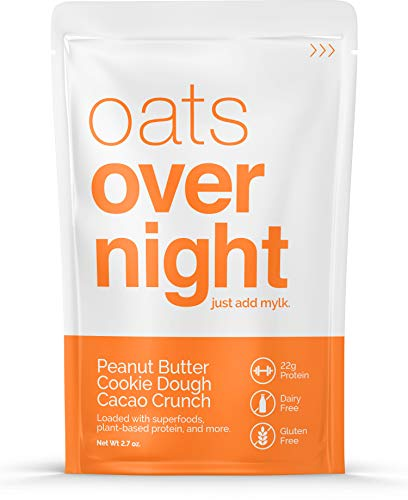 Oats Overnight Dairy-Free - Peanut Butter Cookie Dough Cacao Crunch - Premium High-Protein, Low-Sugar, Gluten-Free, Vegan Oatmeal (2.6oz per pack) (12 Pack) (Best Peanut Butter Cookie Dough)