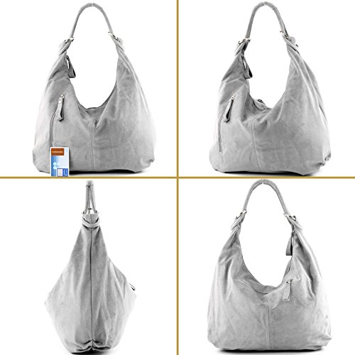 Italian bag bag women's leather hobo bag bag 337 Silber metallic handbag ggrqxPw0