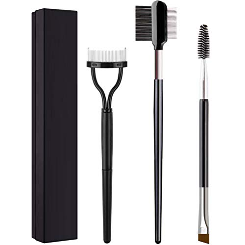 KINGMAS 3Pcs Duo Eyebrow Brush and Spoolie & Eyelash Comb Curlers & Steel Brow Brush Comb Makeup Grooming Tool
