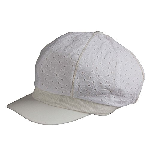 Morehats Flower Cotton Slouchy Cabbie Gatsby Newsboy Beret Cap - White