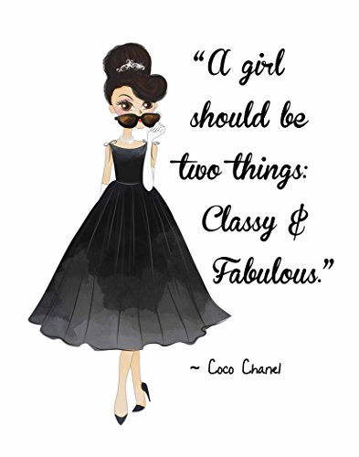 Pop Art Print ~ Audrey Hepburn w/Coco Chanel Beauty/Fashion Quote: CLASSY & FABULOUS (8