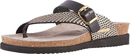 Calfskin Womens Casual Shoes - Mephisto Women's Helen Mix Slide Sandal, Black, 9 M US