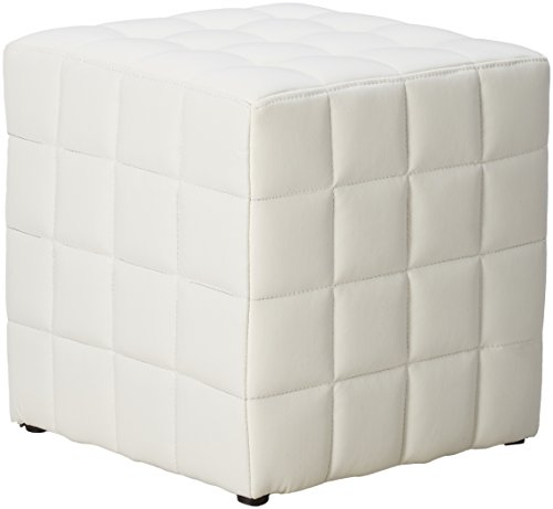 monarch specialties leather-look ottoman, white