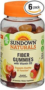 Sundown Naturals Fiber Gummies - 50 ct, Pack of 6