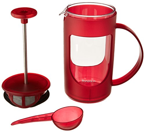 BonJour Coffee Unbreakable Plastic French Press, 12.7-Ounce, Ami-Matin, Red
